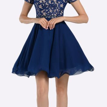 Navy Blue Lace Top Peekaboo Sleeves Short Chiffon Homecoming Dress