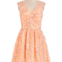 ModCloth Pastel Mid-length Sleeveless A-line Twinkling at Twilight Dress in Peach