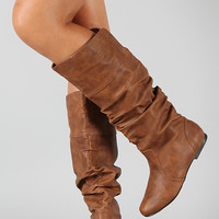 Leatherette Slouchy Knee High Boot