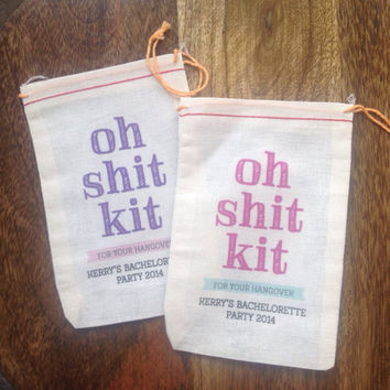 4x6 Mini Muslin Bags for Bachelorette Kits - Oh Sh!t Kit