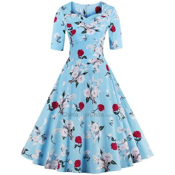 Sweetheart Neck Floral Print Women Dress