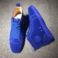 Christian Louboutin CL Louis Spikes Mid Style #1812 Sneakers Fashion Shoes Best Deal Online