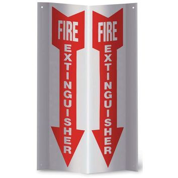"Fire Extinguisher Arrow Rigid Plastic 3-D Sign - 4""W x 12""H"