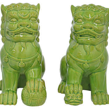 Asst. of 2 Foo Dogs, Green, Figurines & Animal Figures