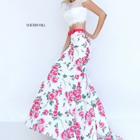 Sherri Hill 50421 Ivory Pink Floral Two Piece Dress