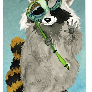 Pack of Ten Break a Leg Cute Animal Postcards, Good Luck Thespian Raccoon Postcard, 10 Pack Break a Leg Theatre Performance Actor Postcards