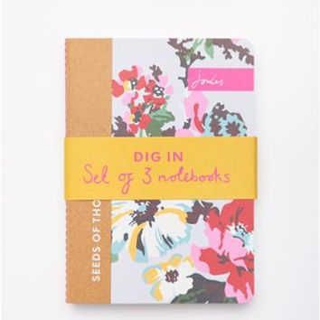 Multi Digin Set of 3 A6 Notebooks , Size One Size | Joules UK