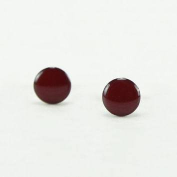 BURGUNDY Stud Earrings - Burgundy Earrings - Burgundy Ear Studs - Burgundy Earrings Stud - Surgical Steel Post Earrings - 4mm / 6mm / 8mm