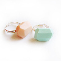 Mint and Peach Geo Ring Set of TWO, Handmade Polymer Clay Adjustable Ring - Rare Diamonds Collection