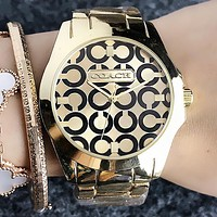 """COACH"" Popular Woman Men Chic Casual Quartz Movement Wristwatch Couple Watch Golden I-H-JH"