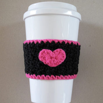 Black and Pink Crochet Heart Coffee Cup Cozy