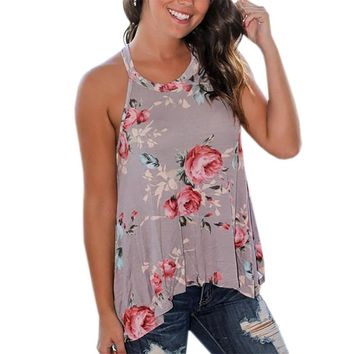 2017 Summer Tshirts Women Sleeveless Floral Printed Tank Top O-Neck T-Shirt Beach Tops Femme Casual Loose Blusas Femininos GV640