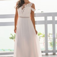 Ivory Cold Shoulder Maxi Dress with Crochet Top