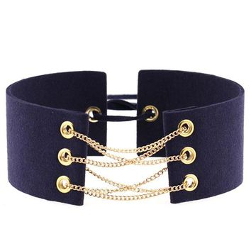 Velvet Choker With Gold Color Statement Necklace Link Chain