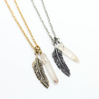 Feather crystal necklace
