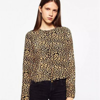 Round Neck Long Sleeve Leopard Printing T-Shirt