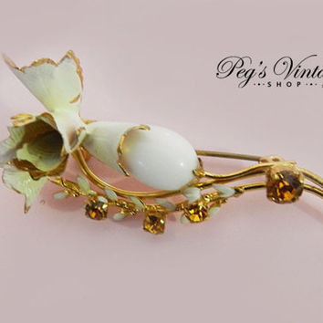 Unique Vintage Rose Flower Pin, White Enamel Brooch Pin, Amber Rhinestone Brooch, Gold Plated Made Austria