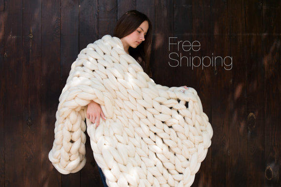 summer sale blanket chunky knit blanket from bigdreamusa on etsy. Black Bedroom Furniture Sets. Home Design Ideas