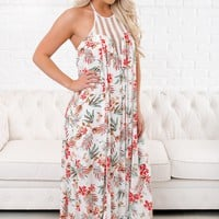 Show You Love Floral Halter Maxi (Ivory)