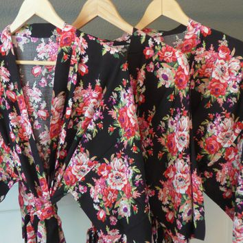 Black Floral Kimono Bridesmaid and Flower Girl Robe