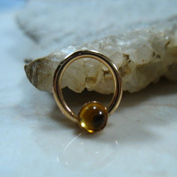 Septum & Nipple Ring Gold Citrine Gemstone