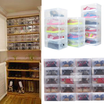 10pcs in 1 High Quality  Clear Foldable Plastic Shoe Storage Case Boxes Stackable Organizer Shoe Holder Hot