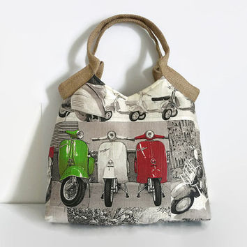 Fashionable tote bag, classis  Vespa scooter print  shoulder bag, Red and green Italian flag colors,  trendy shoulderbag, jute handles