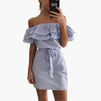 Strapless Striped Ruffles Dress
