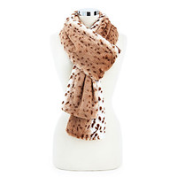 Faux Leopard Scarf, Tan/Brown