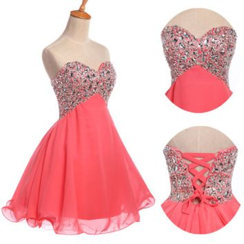 Homecoming Dress,Strapless Pink Beaded Mini Chiffon Short Prom Dress