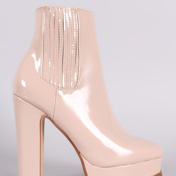 Patent Square Toe Chunky Platform Heeled Ankle Boots