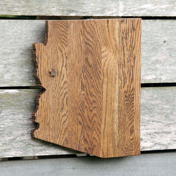Arizona state shape wood cutout sign wall art with star or heart.  Repurposed Oak flooring 14x17 in. Wedding Country Cabin Rustic Gift Decor
