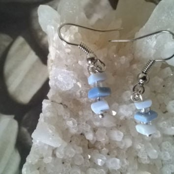 Blue Opal gemstone earrings artisan October Birthstone natural stone dangle bead earrings dainty crystal jewelry delicate earrings