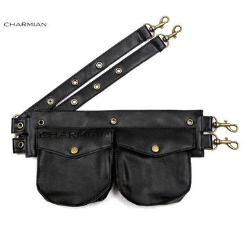 Charmian Women's Vintage Steampunk Faux Leather Detachable Pouch Belt Black Brown Corset Costume Accessories