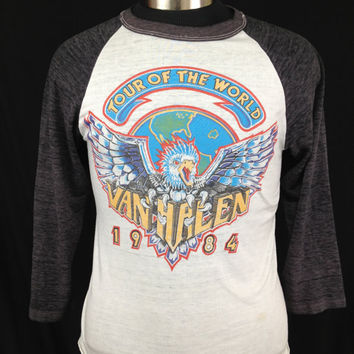 ON SALE Vintage Van Halen 1984 concert T-shirt three-quarter sleeves thin 1980s