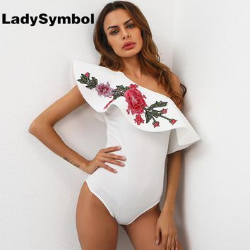 LadySymbol Ruffle One Shoulder Floral Bodysuit Summer Sexy Playsuit Elegant White Women Jumpsuit Rompers Bodycon Party Overalls