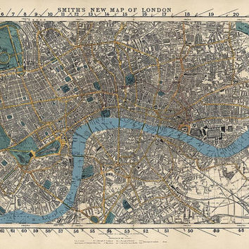 Antique Map of London, England (1860) - Archival Reproduction