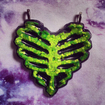 Zombie Ribcage Heart Necklace Pastel Goth, Soft Grunge, Neon, Rave