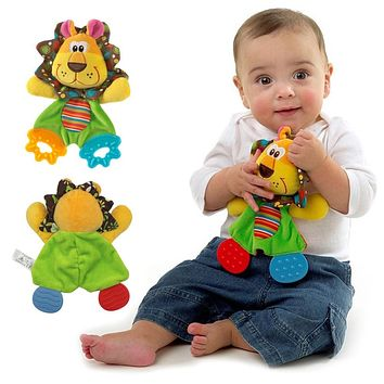 Plush Toy Cute Lion Comfort Towel with Sound Paper Teether Toy Soft Appease Stuffed Toy Infant Playmate Calm Doll