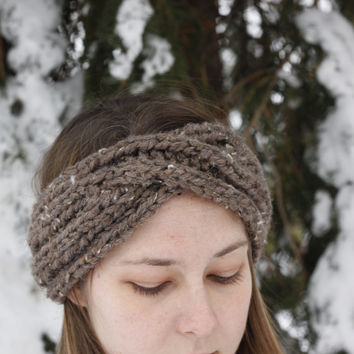 Turban headband, womens headband, hand knit headband, brown headband, knit ear warmer, teenager headbands, criss cross headband, chunky knit