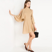 Champagne Lotus Sleeve Off The Shoulder Dress