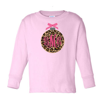 Leopard Ornament with Monogram on Long Sleeve Pink T-Shirt