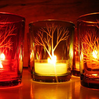 12 Votive Holders Amber, Red, and Green . Hand Engraved 'Tree Branch' . Autumn Candle Holder . Thanksgiving Table Decor . NEW