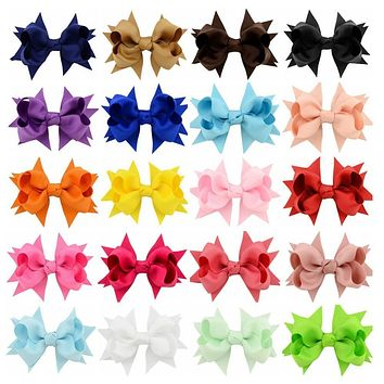 Newest 20pcs/lot Korean 3.3 Inch Grosgrain Ribbon Bows Accessories With Clip Boutique Bow Hairpins Hair Ornaments 657