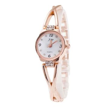 Minimalism Rhinestone Golden Stainless Steel Wrist Watch