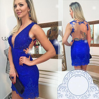 Royal Blue Backless Homecoming Dress, Lace Open Back Homecoming Dress