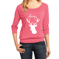 Harry Potter Inspired Clothing - Stag Always Raglan 3/4 Length Sleeve - Ladies