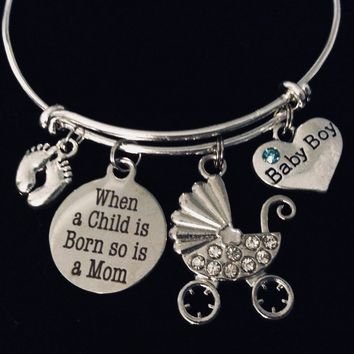 Baby Boy New Mom Jewelry Adjustable Bracelet When A Child is Born So is A Mom Silver Expandable Charm Bangle One Size Fits All Gift Baby Feet