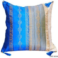 'Dance of Blue' - Blue and Grey Decorative Silk Throw Pillow Cover with Gold Painted Motifs