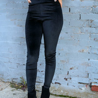 Night Fever Black High Rise Velvet Legging